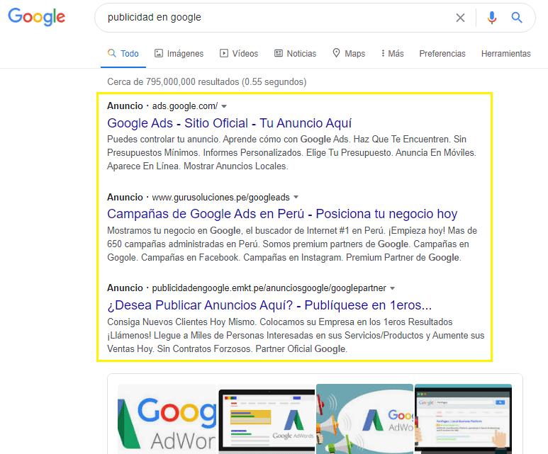campañas en busqueda en google ads, lima peru
