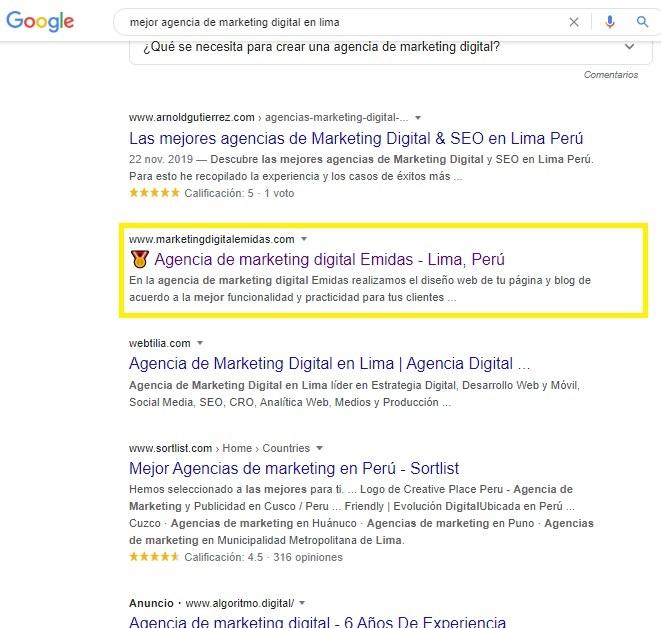 mejor agencia de marketing digital consultor seo en lima emidas