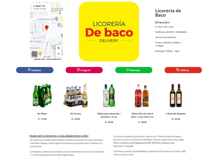 Ejemplo página de negocio en el portal para emprendedores Emidas Lima Peru